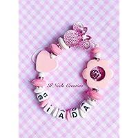 Catenella portaciuccio con strass | catena succhietto rosa | porta ciuccio elegante minnie | nome personalizzabile