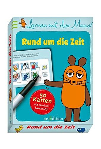 Preisvergleich Produktbild Lernen mit der Maus - Rund um die Zeit: 50 Karten mit abwischbarem Stift