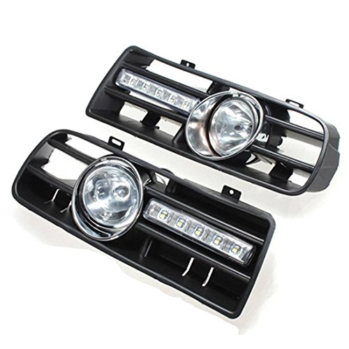 Globalflashdeal 2 X LED Grille Grill Pare-Chocs Feux Anti Brouillard Phare pour 97-06 Golf 4 MK4 IV Noir