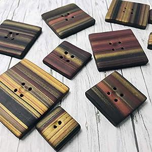 Knöpfe Extravagant Quadratisch 2 Stk rot gold verschiedene Größen Nähen Modern Knopf Handmade Efimoni