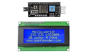 SunFounder IIC I2C TWI Serial 2004 20x4 LCD Module Shield for Arduino Uno Mega2560 (IIC 2004)