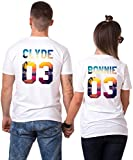 King Queen T-Shirt Set für Paar Tropic Auflage König Königin Partner Look Pärchen Shirt Geburtstagsgeschenk 2 Stücke (Clyde-Bonnie, King-M + Queen-M)