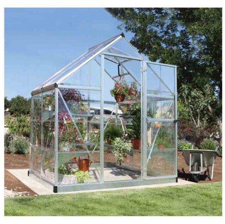 Serre de jardin en polycarbonate Harmony 2,33 m² Harmony6x4_4 - longueur : 1m26 Argent H
