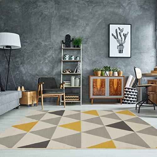 The Rug House Tapis de Salon tradtionnel Milan Triangles Motif arlequin Ocre Jaune Gris Beige 80cm x 150cm