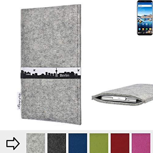 flat.design für Oukitel K5 Schutz-Hülle Handy Tasche Skyline mit Webband Berlin - Maßanfertigung der Filz Schutztasche Handy Case aus 100% Wollfilz (hellgrau) für Oukitel K5