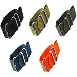 Mi-Watch ZULU Heavy Duty Nylon Divers, MOD, Military G10 NATO Nylon Watch Strap 18mm, 20mm, 22mm, 24mm in Black, Grey, Blue, Orange & Olive Green Variations