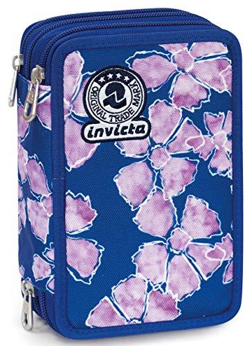Astuccio 3 zip invicta pansy, blu, con materiale scolastico: 18 pennarelli giotto turbo color, 18 matite giotto laccato...