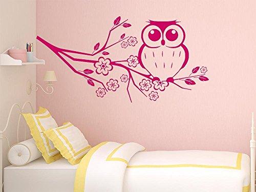 Preisvergleich Produktbild Wandtattoo Wandaufkleber Ast mit Eule Kinderzimmer Schlafzimmer Blume Wanddeko (60x30cm // 816 Antique White)