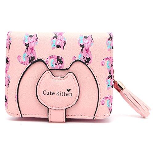 Dairyshop Pendenti in nappa Cute Kitten Hasp Aprire Tipo Short Beach Borse Pochette Borsa (verde) rosa