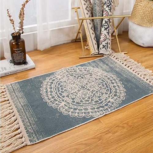 Leinen Oval Teppich (SMEI Retro Böhmische Hand Gewebt Baumwolle Leinen Teppich Quaste Bett Teppich Geometrische Boden Matte Wohnzimmer Schlafzimmer Home Decoration 50x80cm)