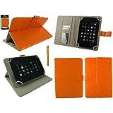 Emartbuy® Hyundai AT7 7 Inch Tablet Universal Serie Naranja Ángulo Múltiples Executive Folio Funda Carcasa Wallet Case Cover Con Tarjeta de Slots + Oro Lápiz Óptico