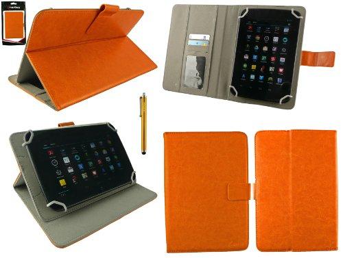 Emartbuy® Gold Eingabestift + Universalbereich Orange Multi Winkel Folio Executive Wallet Hülle Schutzhülle Case Cover mit Kartensteckplätze geeignet für Lenovo A7-50 7 Inch Tablet