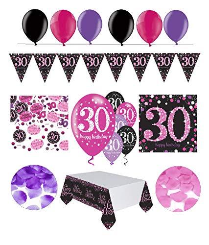 tagsdeko 30. Geburtstag | 31 Teile Deko-Set Luftballon Wimpel Girlande Konfetti Serviette Tischdecke Pink Schwarz Violett metallic Party-Set ()