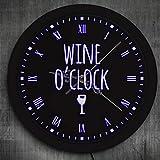myvovo)Wine o'Clock LED Neon Sign Orologio da Parete Moderno Winery Sign Orologio da Parete da Cucina Luminoso Pub Bar Wine Lighting Decor Regali per Feste