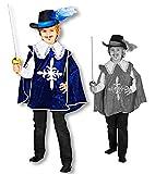 Horror-Shop Blauer Musketier Samtumhang für Kinder 116