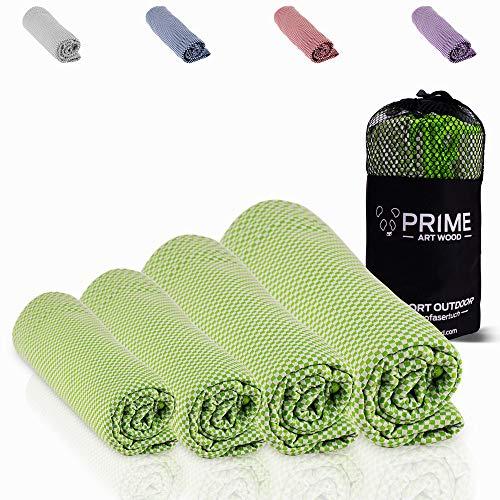 PRIME ART WOOD Bambus Handtuch 200x80 cm 200 80 80x200 Grün Grüne Grünes Mikrofaser Microfaser Handtücher Reisehandtuch XL Duschtuch großes Backpack Strandhandtücher Yogatuch Badehandtücher
