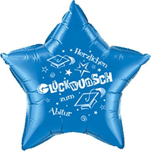 DeCoArt... Folienballon Abitur Stern blau Herzlichen Glückwunsch zum Abitur ca. 51 cm (Ballongas geeignet) und 10 Latexballons klein ca. 12,5 cm perl mix zur Fertigung einer Ballonkugel als Ballongewicht Farben: sortiert mix (mit DeCoArt...Anleitung zur Fertigung)