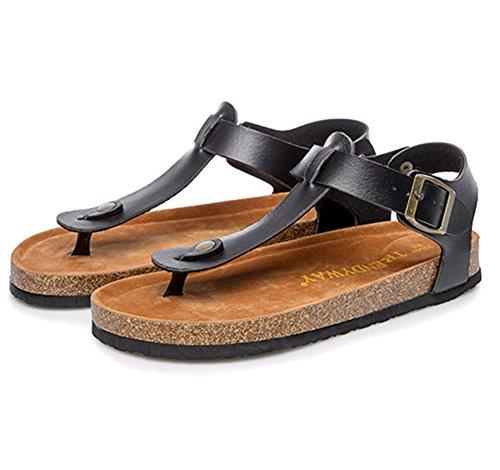 Unisex-Erwachsene Sandalen mit Korkfußbett Zehengreifer Flip-Flops Schuhe Flache Sandalette Komfort Zehentrenner 37 schwarz 0BLrcrLM