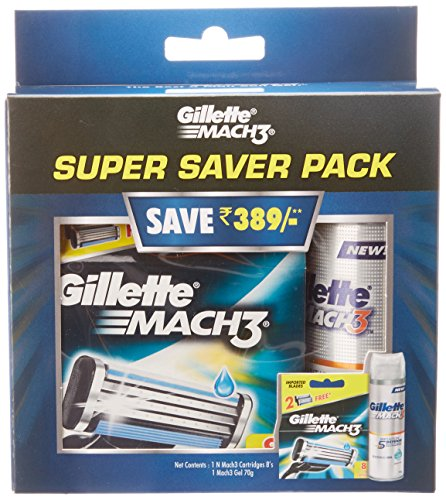 Gillette Mach 3 Manual Shaving Razor Blades - 8 Cartridge Pack with Mach 3 Gel - 70 g  available at amazon for Rs.789