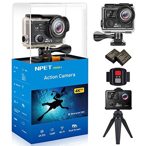 npet finder1Sport Action Kameras HD 4K 14MP 30m/Sicherheitskamera Unterwasser Wasserdicht Camcorder Wifi Eis 170Grad Ultra-View Winkel Dual Bildschirm mit Fernbedienung 15frei Halterung Zubehör