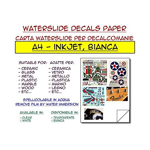 DIYPedalGearParts  5 x carta waterslide bianca per stampante inkjet, decalcomanie, stomp box, pedal effect