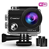 Action Cam 1080P Wi-Fi Full HD 12MP Sport-Kamera Crosstour 2' LCD 30M Wasserdicht 170°...