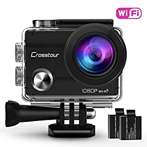 "Crosstour Action Camera Waterproof Wi-Fi Full HD 1080P 12MP 2"" LCD 98ft Underwater 170° Wide-angle Sports Camera with 2 Rechargeable 1050mAh Batteries and Mounting Accessory Kits"