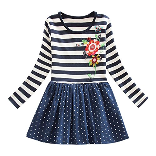 nkind Baby Kind Blumen Druck Stickerei-Prinzessin Party Kleid Bluse Dress Langarm T-shirts Party Kleid Mini Kleid (6T,B-Blau) (Damen Santa Fancy Dress)