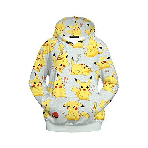 XJXDWY 3D Sport Hoodie Lässige Pullover Unisex Bewegung Phantasie Kostüm Digitaldruck Pokémon Pikachu XL