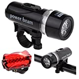 #10: Goodsville COMBO PACK of Waterproof Safety LED Laser Tail Light and Bicycle Headlight LED with Mount/Clip