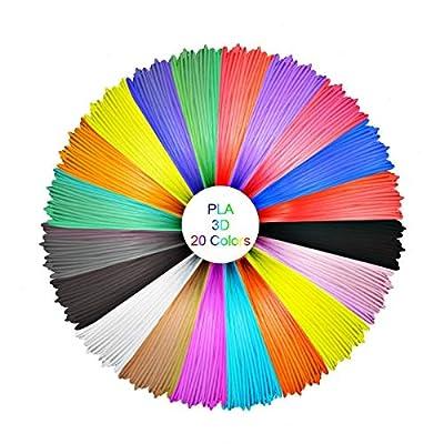 3D Stift filament PLA, GEEETECH PLA Filament 1.75mm, 3D Druck Filament Paket mit 20 unterschiedlichen Farben, einschließlich 5 verschiedenen fluoreszierender Farben.