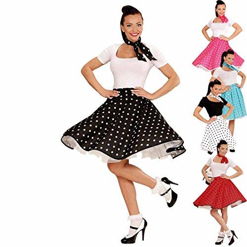 Tellerrock mit Halstuch 50er Outfit schwarz-weiß gepunkteter Swing Rock Rock'n'Roll Rockabilly Party Petticoat mit Polka (Roll Und Rock Party Kostüm)