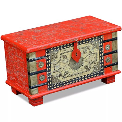 Festnight- Aufbewahrungstruhe aus Mangoholz | Antik-Finish Dekorative Truhe Kaffeetisch | Abschließbar Aufbewahrungsbox 80 x 40 x 45 cm