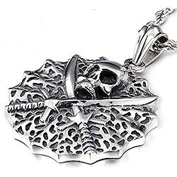 Collar con diseño de pirata de acero de titanio.