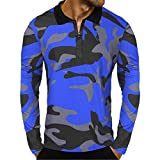 Kanpola Herren Camouflage T-Shirt Longsleeve Basic Shirt Polo Freizeit Hemd Crew Neck Sweatshirt mit Reißverschluss