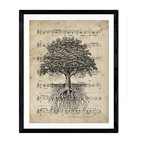 """Blatt für Bild """"Baum des Lebens auf der Partitur"""". Nacnic. Geschenkblatt. Papier 250 Gramm hohe Qualität"""
