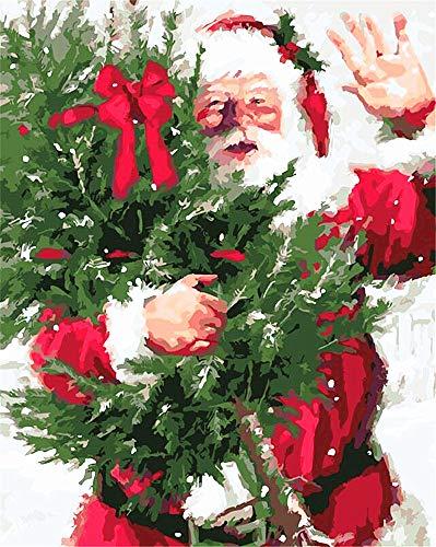 DIY Ölgemälde, Malen nach Zahlen Kit für Kinder Erwachsene Anfänger 40,6x 50,8cm-Santa Claus und Weihnachten Bäume, Zeichnen mit Pinsel Weihnachten Decor Dekorationen Geschenke 40X50cm Frame (Baum Weihnachten Dekorationen)