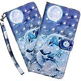 HMTECH Galaxy A20E Hülle,Samsung Galaxy A20E Handyhülle 3D Mond Wolf Flip Case PU Leder Cover Magnet Schutzhülle Tasche Ständer Handytasche für Samsung Galaxy A20E,BX Moon Wolf