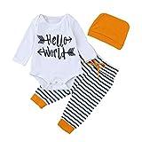 Kobay Kleinkind 3pcs Unisex Neugeborenen Kleidung Set Baby Brief Hello World Strampler Tops + Gestreifte Hose + Hut Outfits(0-3M,Weiß)