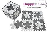 Happykiddoos Puzzlespielmatte 10 Foam Matte. Spielmatte Schaumstoff Verriegelung Puzzle Kinderteppich. Jede Matte hat eine Größe von 30x30cm und ist 1 cm dick (Blumen, Grau/weiß)