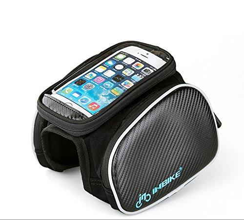 Touch Bildschirm Mountain Bike Fahrrad Lenkertasche vorne Tube Bag wasserdichte Satteltasche Handy Tasche mit Handy Fall Weiß