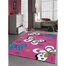 Alfombra infantil Juego Alfombra juvenil habitaciones mariposa color rosa fucsia, 120 x 170 cm