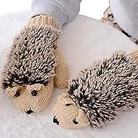 Junlinto Womens Cartoon Hedgehog Gloves Espesar Invierno Mano Warmer Punto muñeca Mittens-Beige