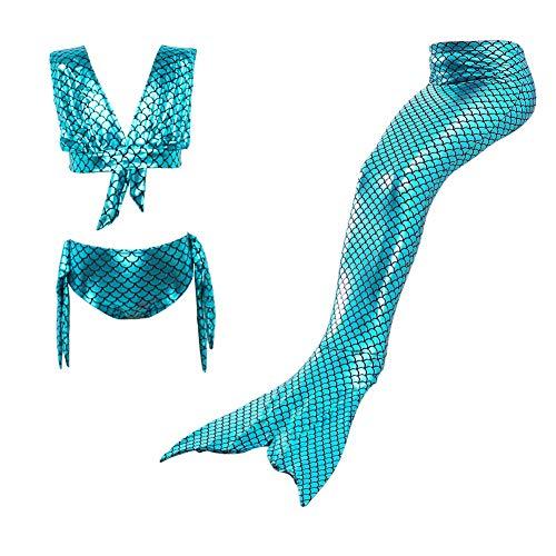 Lvbeis Mädchen Meerjungfrau Badeanzug Realistische Swimmable Tails Bikini KostÜM Cosplay Mermaid KostÜM Monoflosse Schwimmen,-Green,110cm