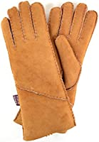Ladies Luxury 100% Sheepskin Tan Gloves with Long Optional Turn Back Cuff. Sizes Small, Medium, Large & Extra Large