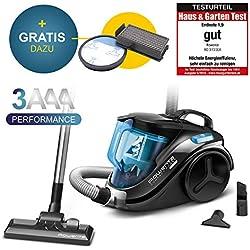 Rowenta RO3731EA - Aspiradora sin bolsa con filtro de repuesto (750 W = 2000 W, filtro de alta eficiencia, 3 cables de alimentación A, aspiradora sin bolsa, precio de ahorro), color negro y azul