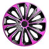 4-er Set Radkappen Radzierblenden Duocolor 15 Zoll 15'' schwarz pink black pink