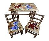 Sitzgruppe für Kinderzimmer Tisch+2 Stühle Kinder Kieferholz Kunsthandwerk! Öko! (Hunde)