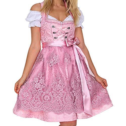 84 Mini-anhänger (laamei Damen Trachtenkleid Dirndl Schulterfrei Kleid Dirndlkleid Blumen Spitzen Midikleid inkl.Kleid, Bluse, Schürze für Frauen Trachtenkarneval Bayerisches Oktoberfest)