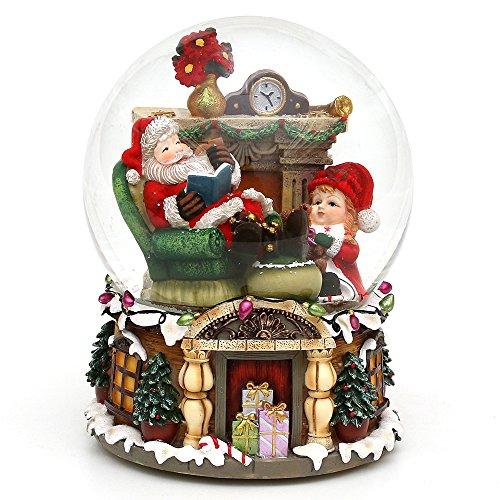 Dekohelden24 bella palla di vetro con neve e scatola musicale, disegno: babbo natale e bambina, circa 16 x 20 cm/Ø 15 cm